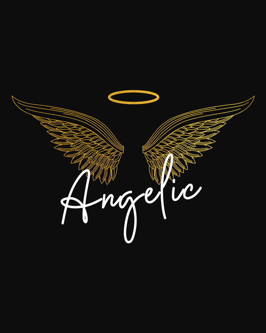 Shop Angelic Wings Gold Print Round Neck 3/4th Sleeve T-Shirt