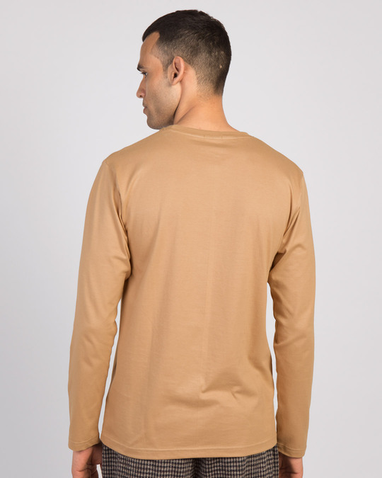 Shop Angry Zip Full Sleeve T-Shirt Dusty Beige-Design
