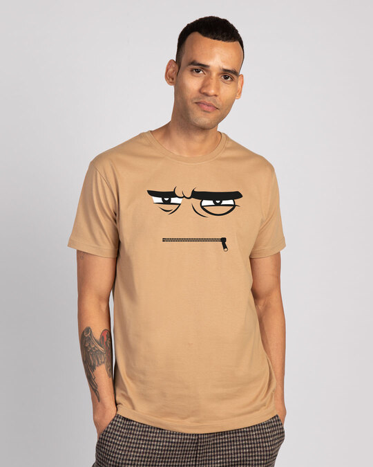 Shop Angry Zip Half Sleeve T-Shirt - Dusty Beige-Front