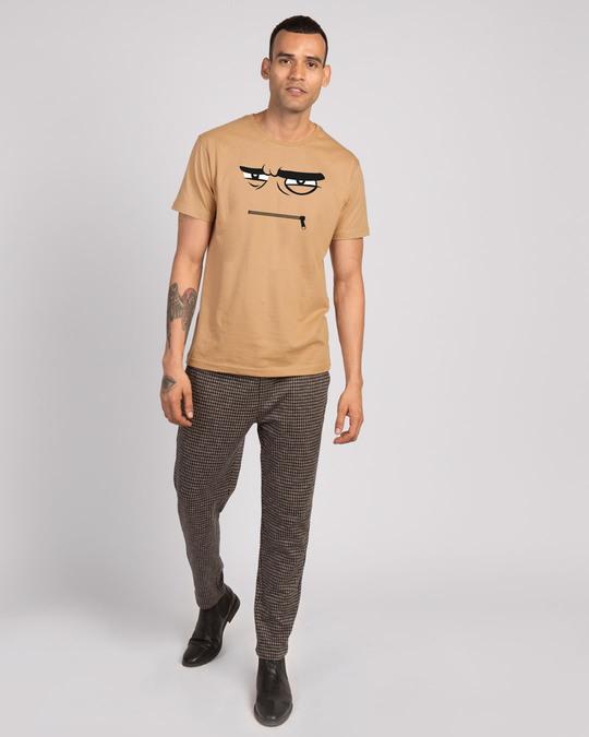 Shop Angry Zip Half Sleeve T-Shirt - Dusty Beige-Design