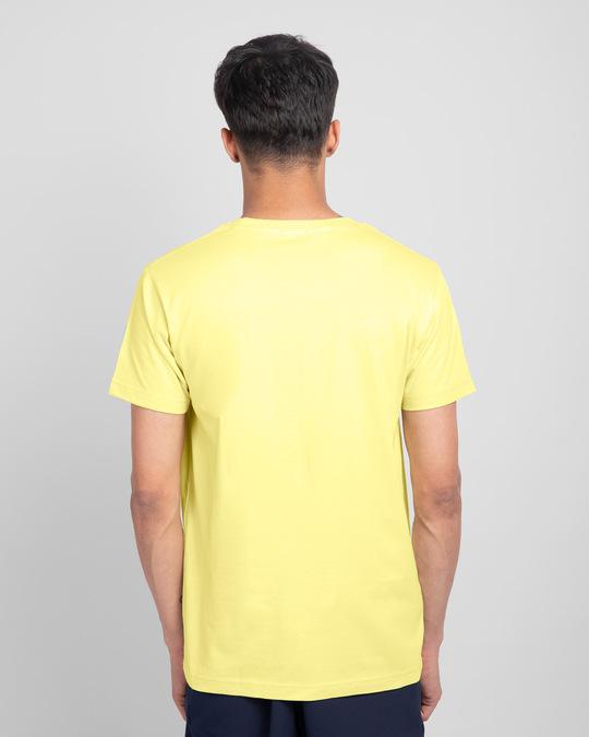 Shop Angry Zip Half Sleeve T-Shirt-Pastel Yellow-Back