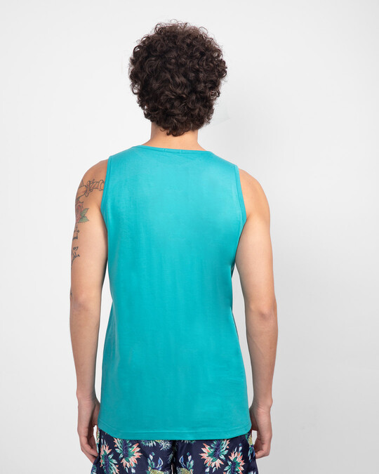Shop Angry Zip Round Neck Vest Tropical Blue-Back