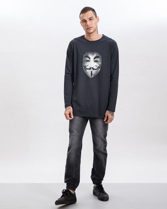 Shop Anonymous Fawkes Mask Longline Full Sleeve T-Shirt-Full