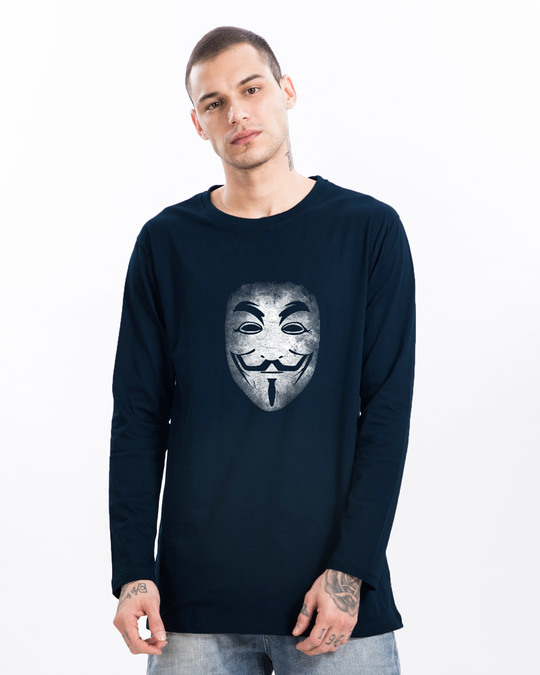 Shop Anonymous Fawkes Mask Longline Full Sleeve T-Shirt-Front