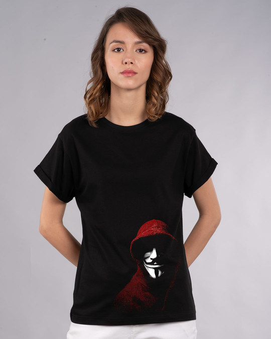 Shop Anonymous Mask Boyfriend T-Shirt-Front