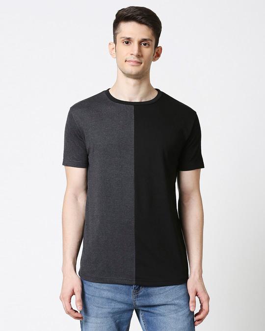 Shop Anthra Melange Half & Half T-shirt-Back