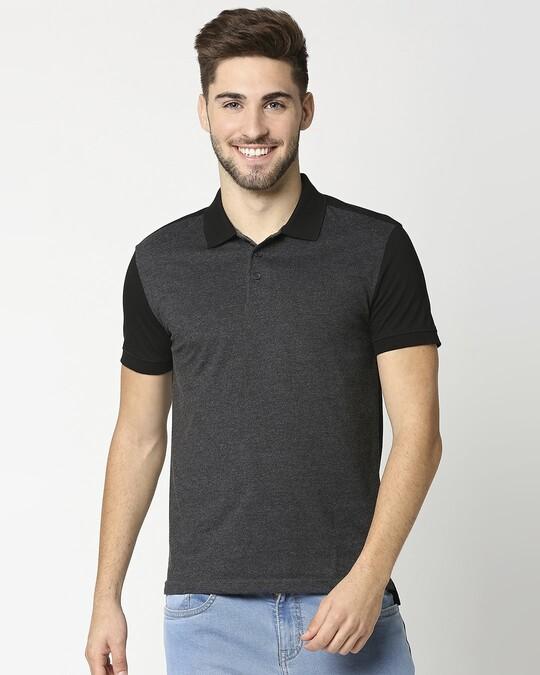 Shop Anthra Melange & Black Melange Cut & Sew Polo-Back