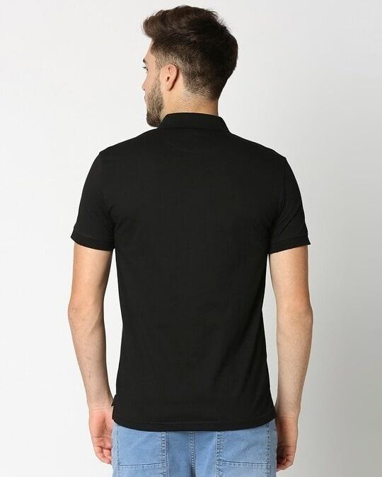Shop Anthra Melange & Black Melange Cut & Sew Polo-Full