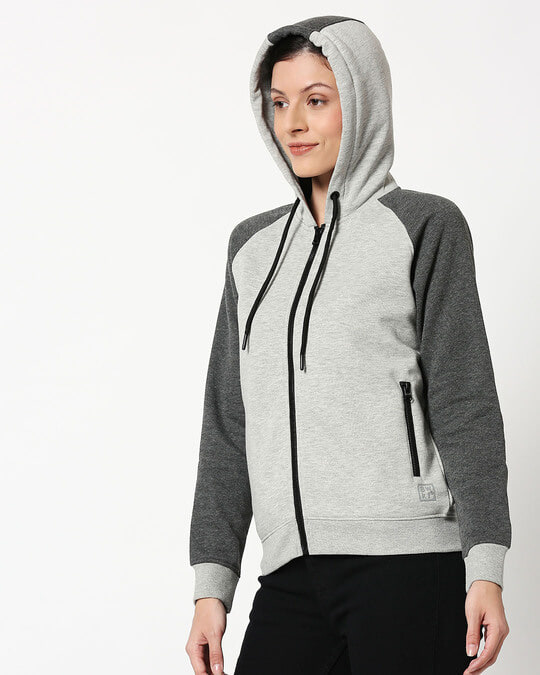 Shop Anthra Melange - Grey Melange Constrast Sleeves Zipper Hoodie-Full