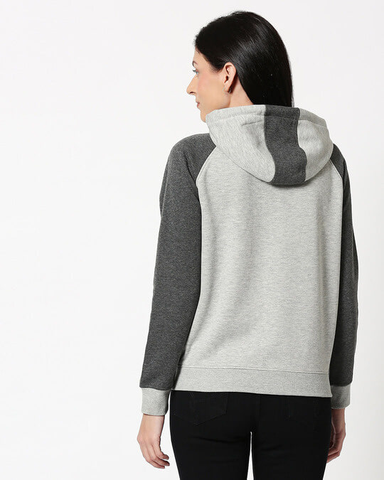 Shop Anthra Melange - Grey Melange Constrast Sleeves Zipper Hoodie
