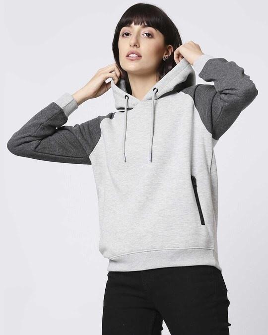 Shop Grey Melange Contrast Sleeve Hoodie Sweatshirt-Front