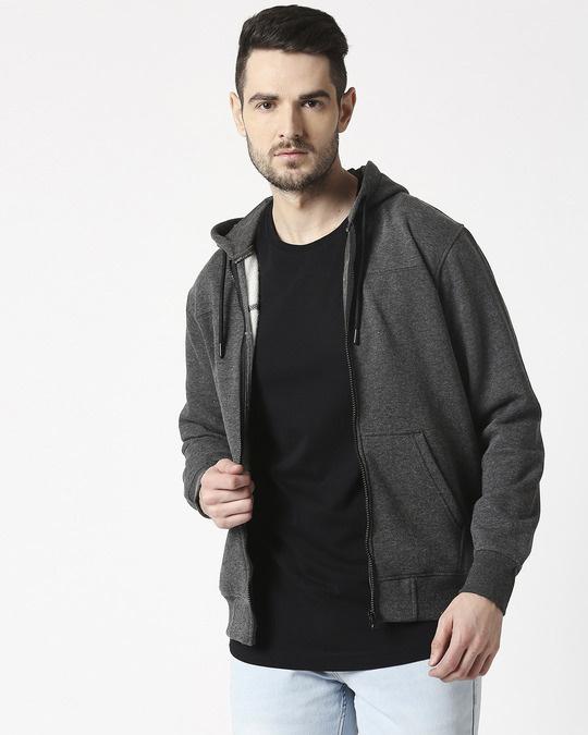 Shop Anthra Melange Stylised Zipper Hoodie-Back