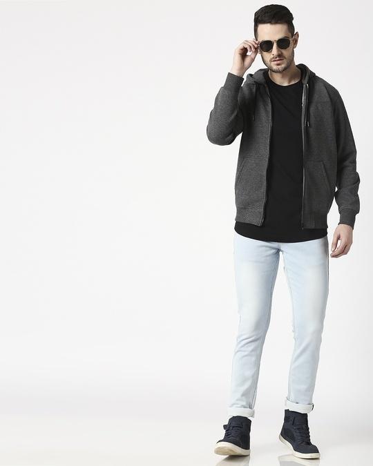 Shop Anthra Melange Stylised Zipper Hoodie