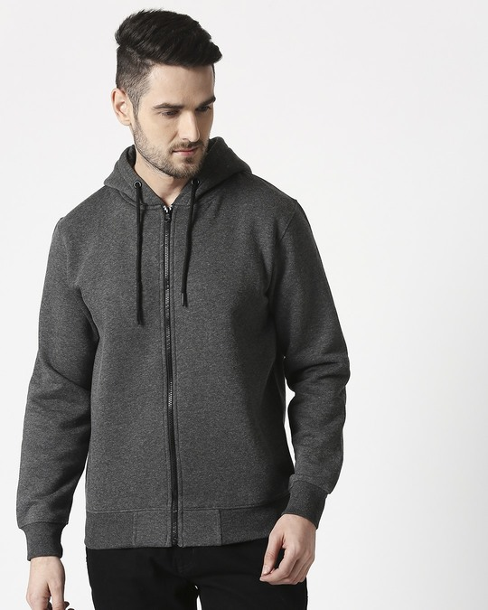 Shop Anthra Melange Zipper Hoodie-Back