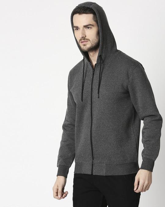 Shop Anthra Melange Zipper Hoodie-Full
