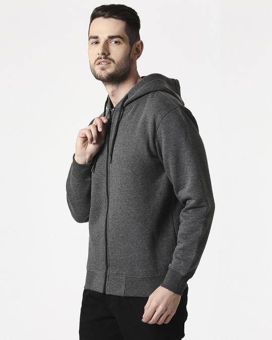 Shop Anthra Melange Zipper Hoodie-Front