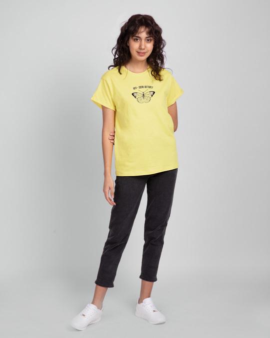 Shop Antisocial Butterfly Boyfriend T-Shirts Pastel Yellow -Design