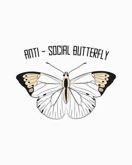 Shop Antisocial Butterfly Boyfriend T-Shirts White-Full