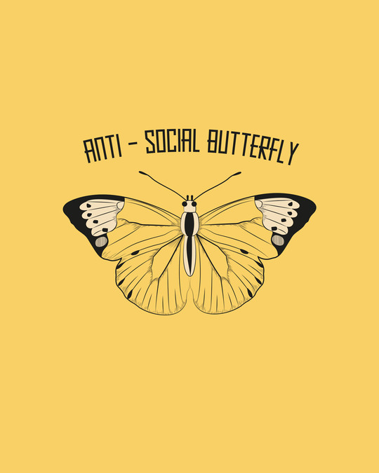 Shop Antisocial Butterfly Half Sleeve Printed T-Shirt Summer Yellow