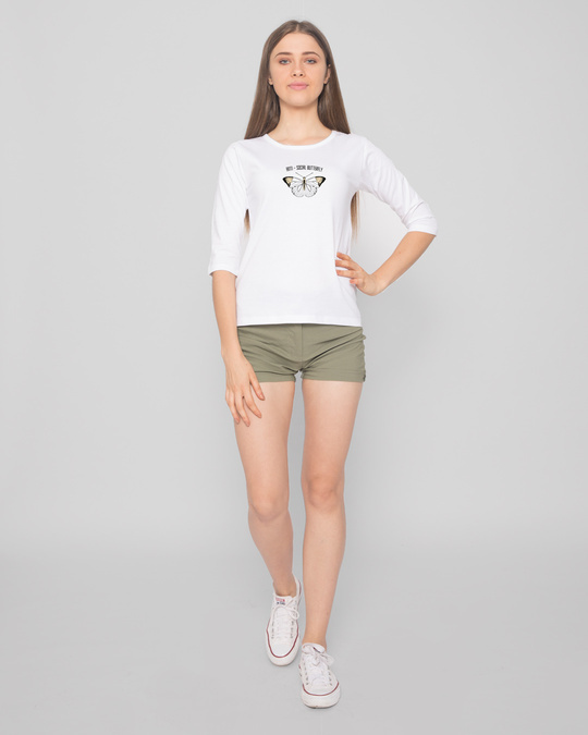 Shop Antisocial Butterfly Round Neck 3/4 Sleeve T-Shirts White-Design