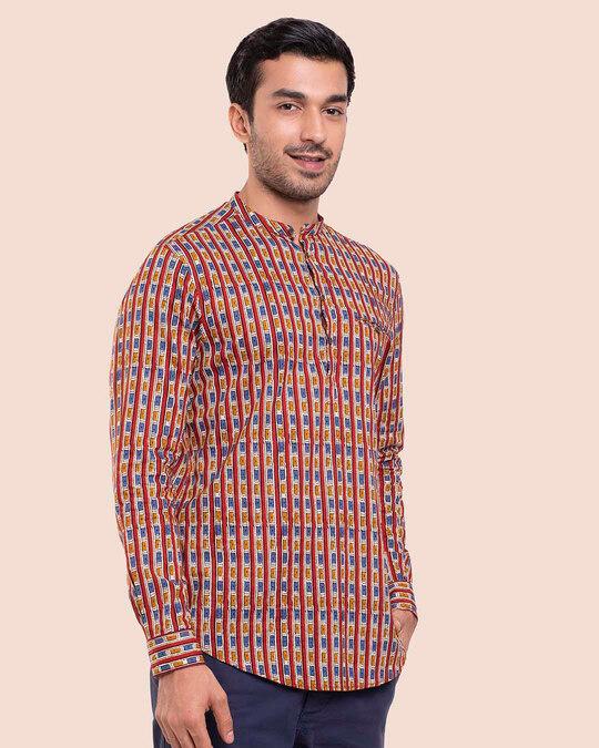 Shop Men's Printed Mandarin Collar Full Sleeves Shirt-Design