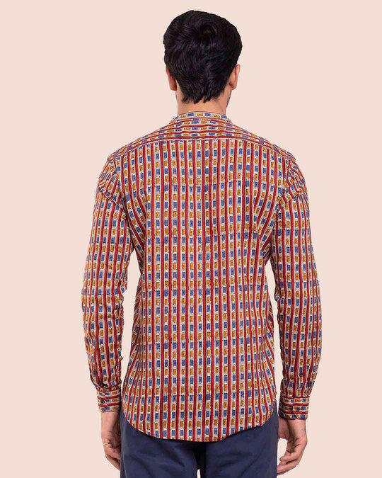 Shop Men's Printed Mandarin Collar Full Sleeves Shirt-Full
