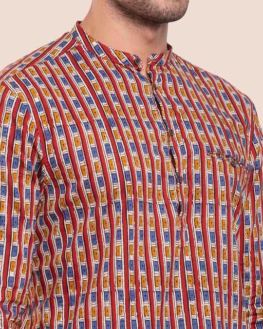 Shop Men's Printed Mandarin Collar Full Sleeves Shirt