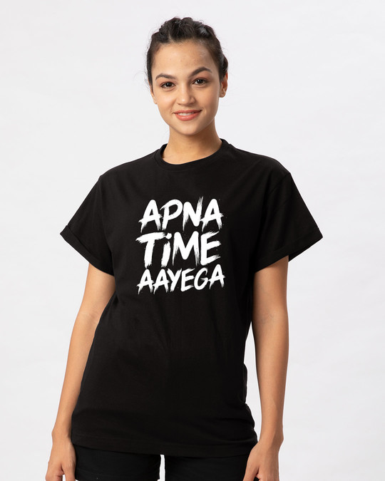 e72bb3aed770 Buy Apna Time Ayega Black Printed Half Sleeve Boyfriend T-Shirt For ...