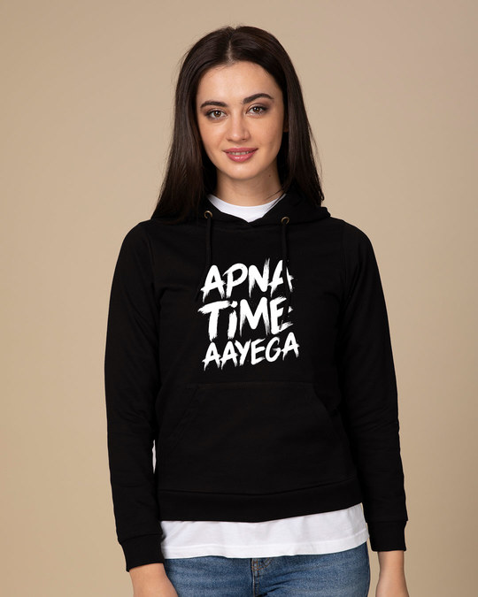 Shop Apna Time Ayega Fleece Hoodies-Front