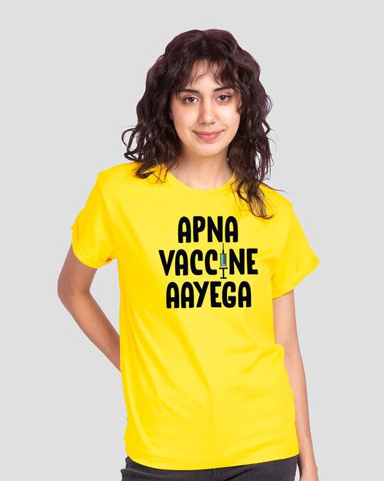 Shop Apna Vaccine Aayega Boyfriend T-Shirt-Front
