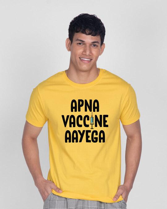 Shop Apna Vaccine Aayega Half Sleeve T-Shirt-Front