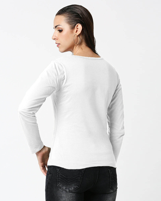 Shop Apparently Dramatic Full Sleeves T Shirt White-Back