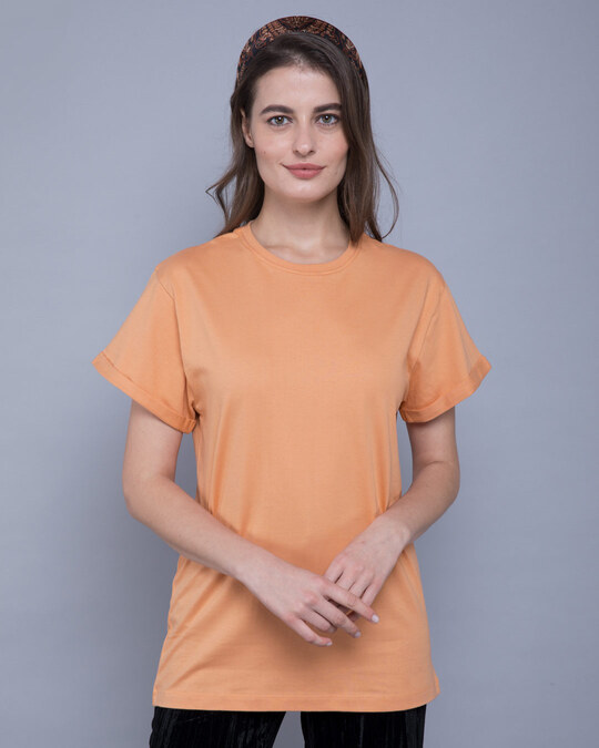 Shop Apricot Orange Boyfriend T-Shirt-Front