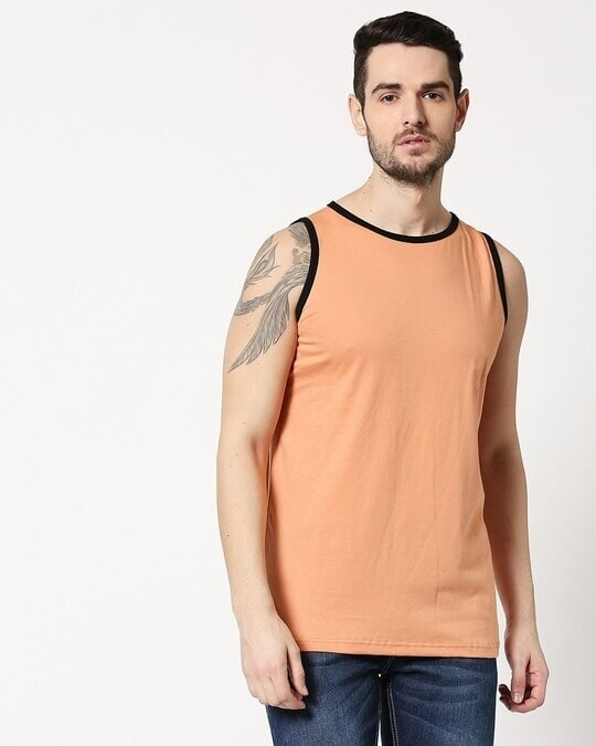 Shop Apricot Orange Contrast Binding Round Neck Vest-Back