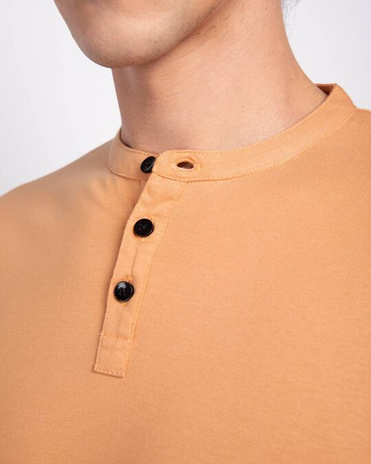 Shop Apricot Orange Full Sleeve Henley T-Shirt