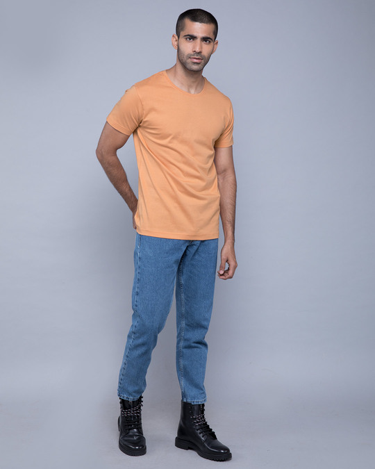 Shop Apricot Orange Half Sleeve T-Shirt-Full