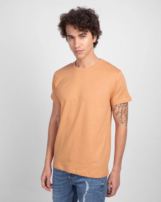 Shop Apricot Orange Half Sleeve T-Shirt-Back