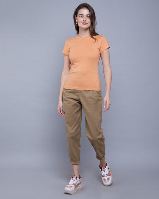 Shop Apricot Orange Half Sleeve T-shirt-Full