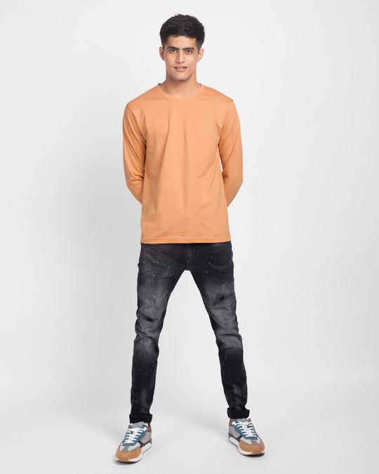 Shop Apricot Orange Plain Full Sleeve T-Shirt-Full