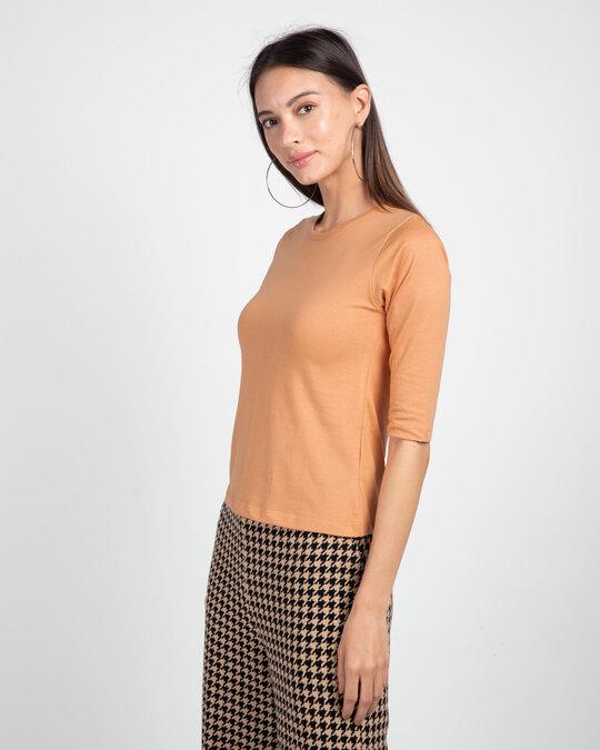 Shop Apricot Orange Round Neck 3/4th Sleeve T-Shirt-Back