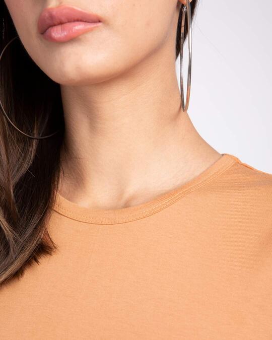 Shop Apricot Orange Round Neck 3/4th Sleeve T-Shirt