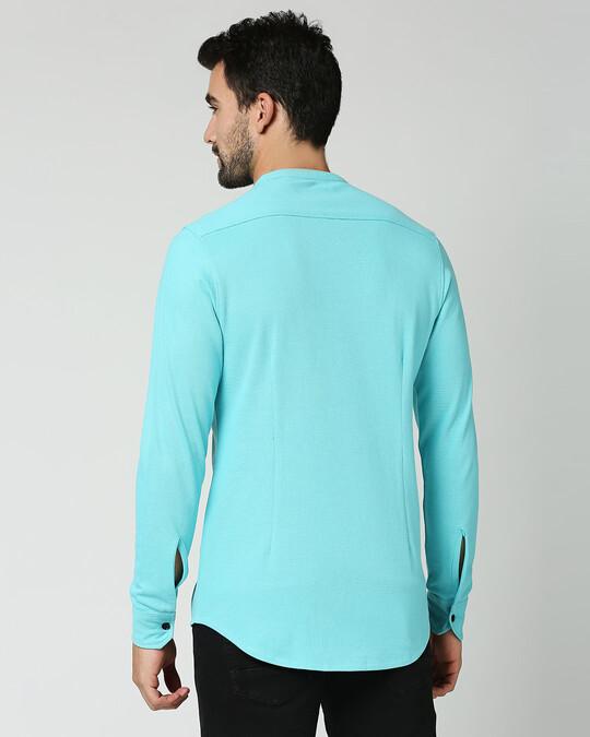 Shop Beach Blue Comfort Stretch Pique Shirt-Full