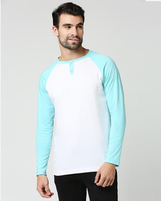 Shop Beach Blue Full Sleeve Henley Raglan T-Shirt-Back