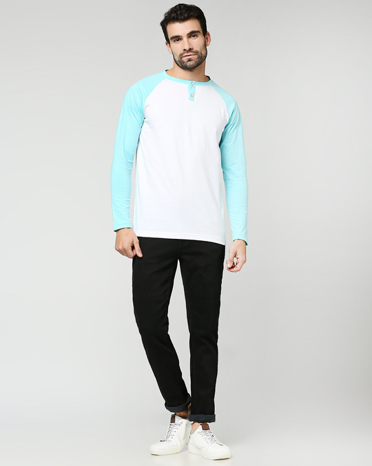 Shop Beach Blue Full Sleeve Henley Raglan T-Shirt