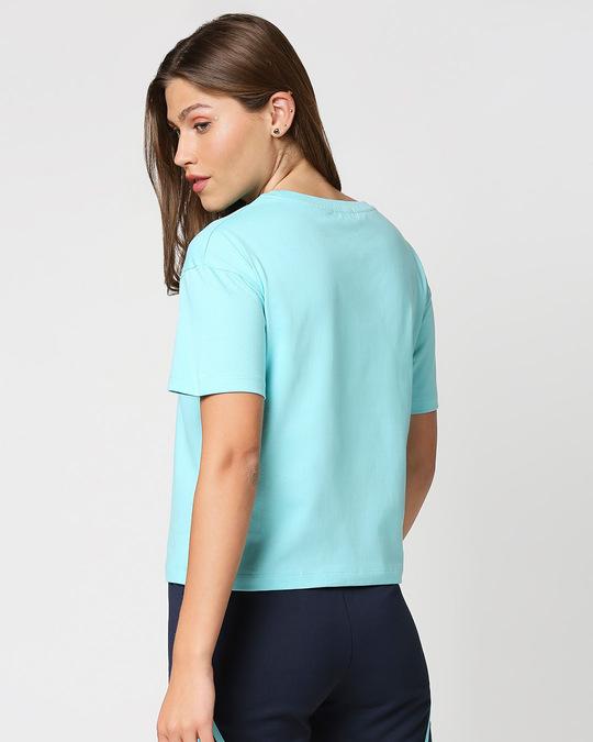 Shop Beach Blue Color Block Women's Short Top-Full