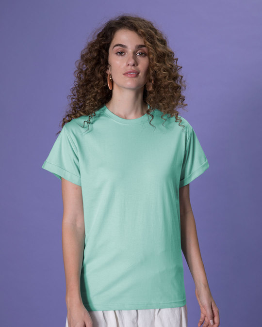 Shop Aqua Green Boyfriend T-Shirt-Back
