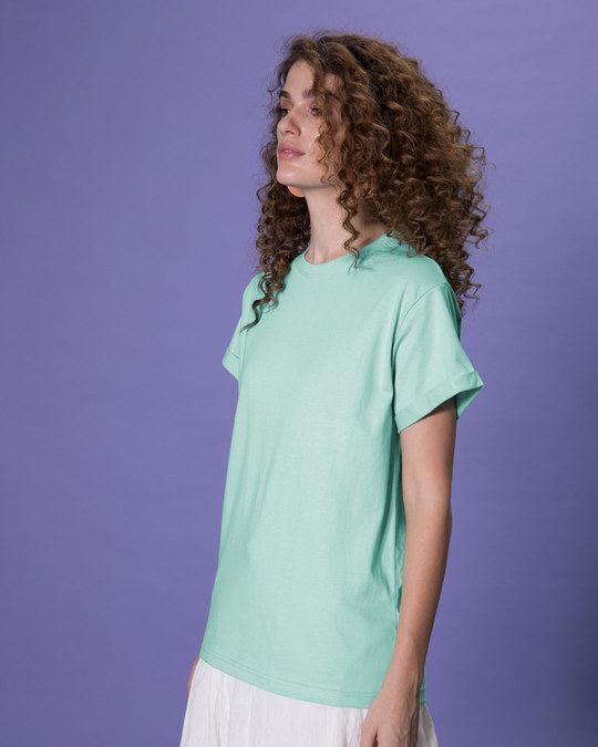 Shop Aqua Green Boyfriend T-Shirt-Full