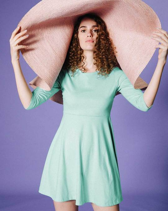 Shop Aqua Green Flared Dress-Front
