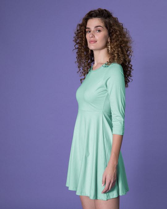 Shop Aqua Green Flared Dress-Full