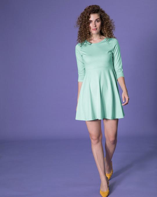 Shop Aqua Green Flared Dress